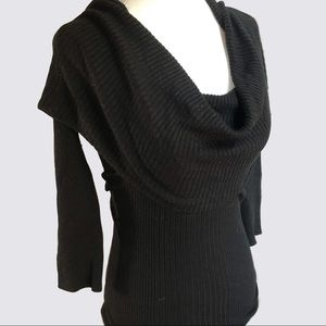 Sweaters - Black Draped Cowl Neck Sweater 3/4 Length Sleeve S